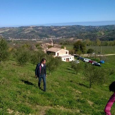 Loris e sullo sfondo la chiesina di Fontegeloni